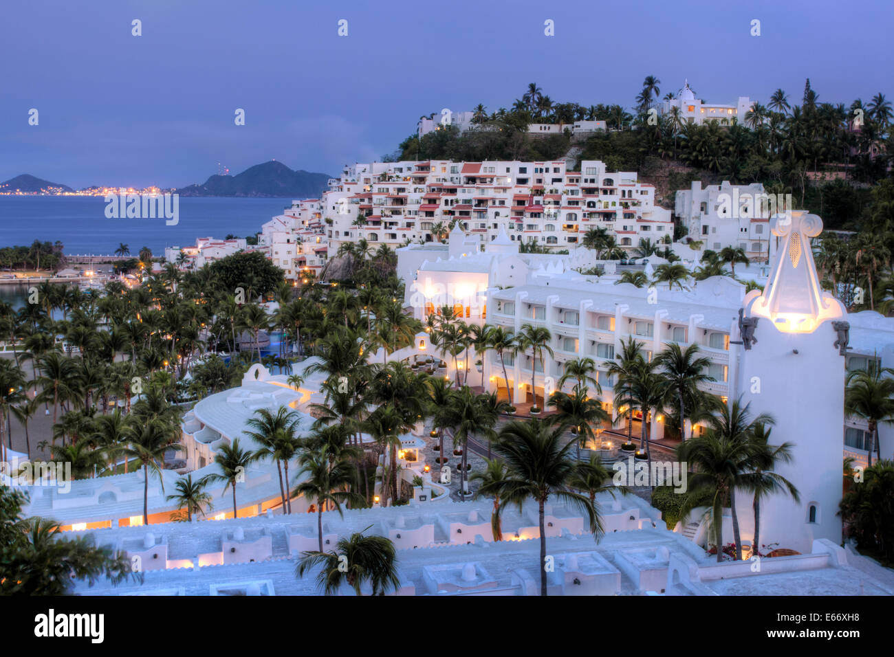 Las hadas resort at twilight with santiago bay and the town of stock resort hotel complex of las hadas at twilight in manzanillo colima mexico sciox Gallery