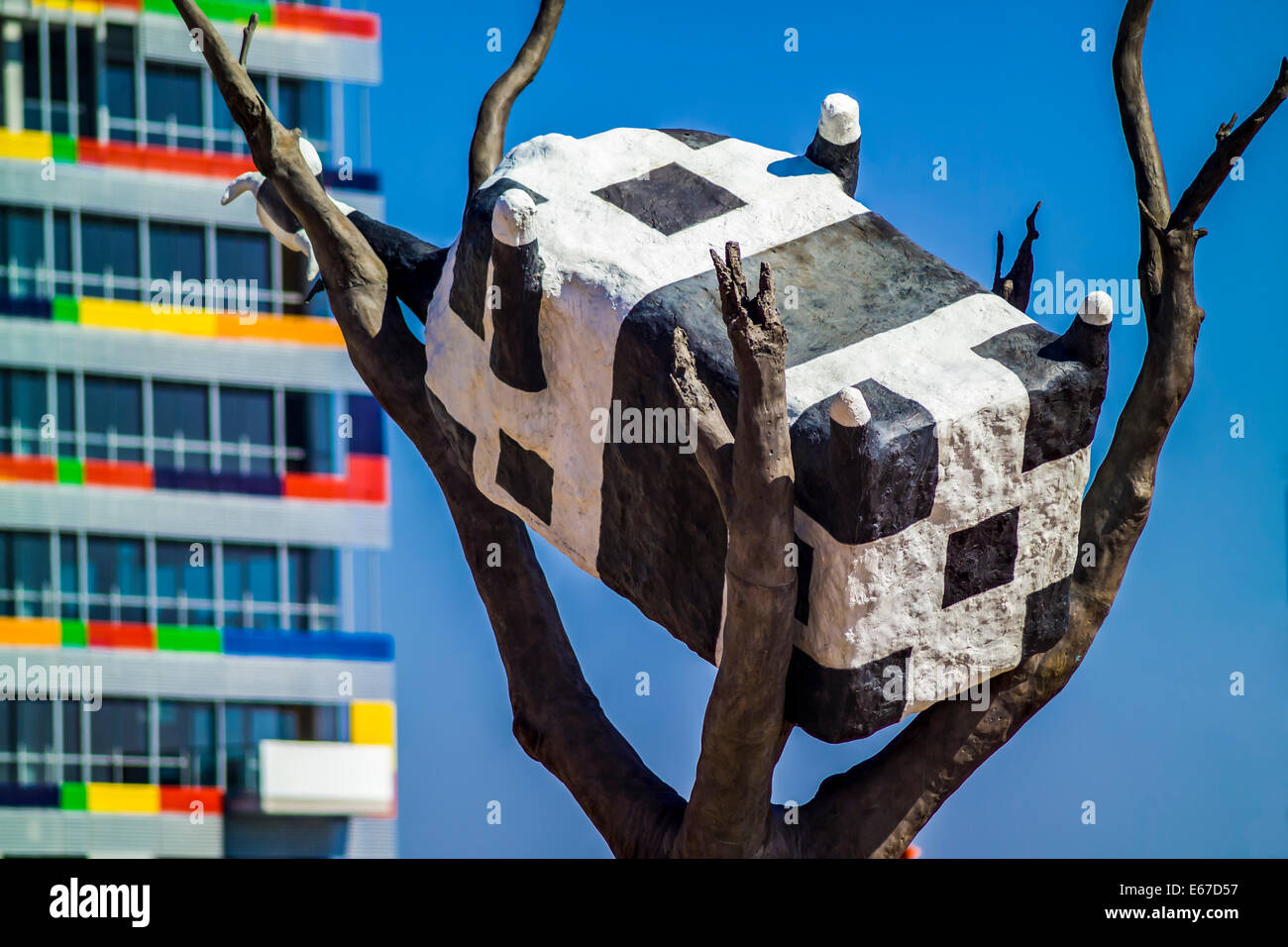 Upside Down Art Cow Up A Tree An Upside Down Cow Sculpture Public Art In The