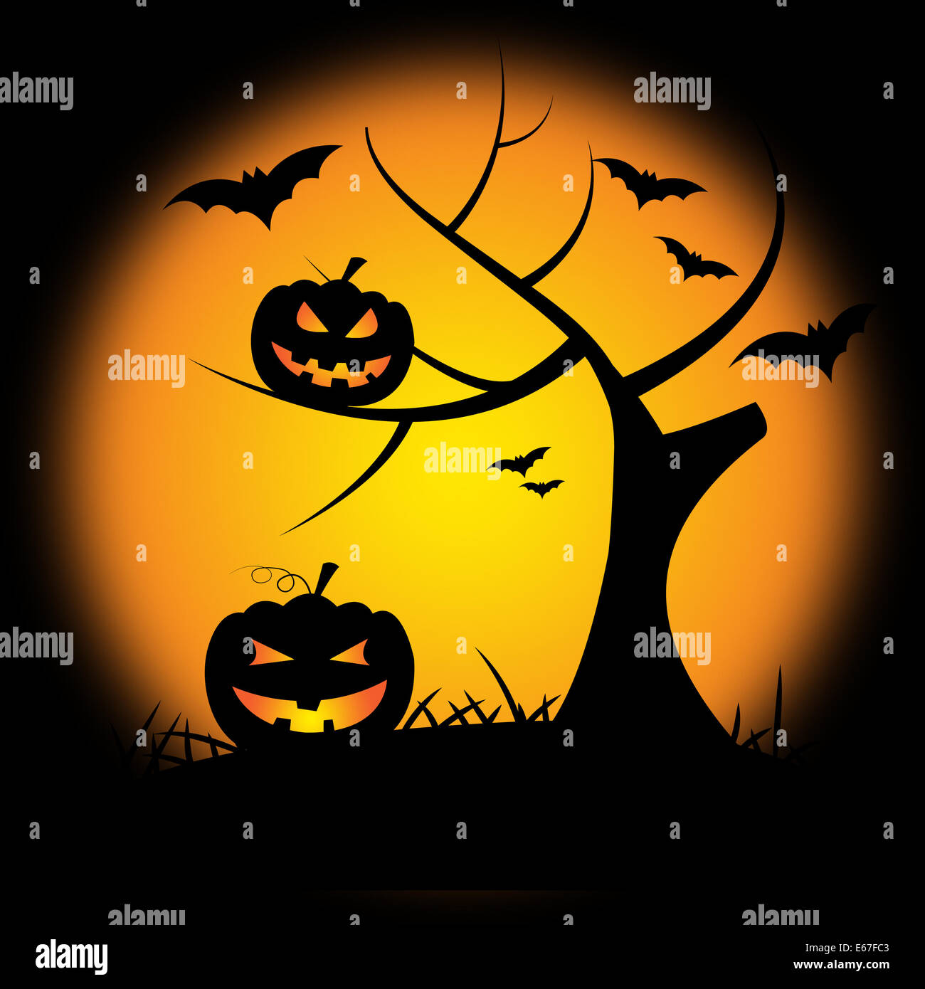 Tree Halloween Meaning Trick Or Treat And Pumpkin Patch Stock ...