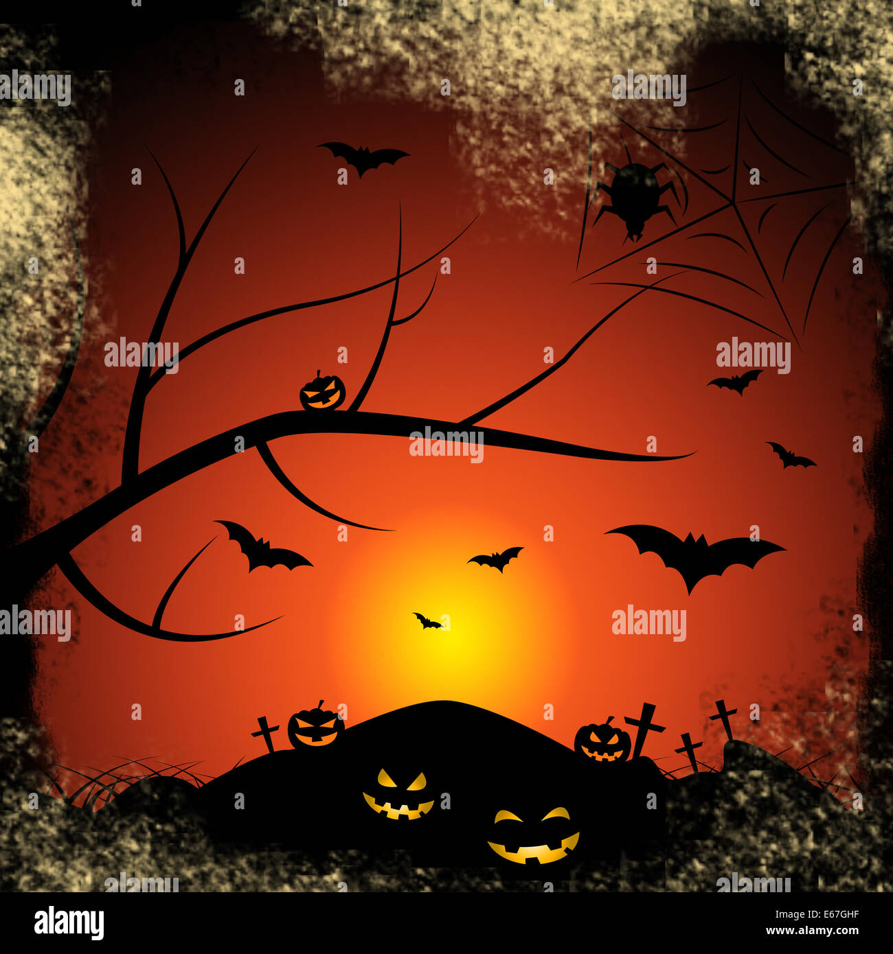 Halloween Bats Meaning Trick Or Treat And Tree Trunk Stock Photo ...
