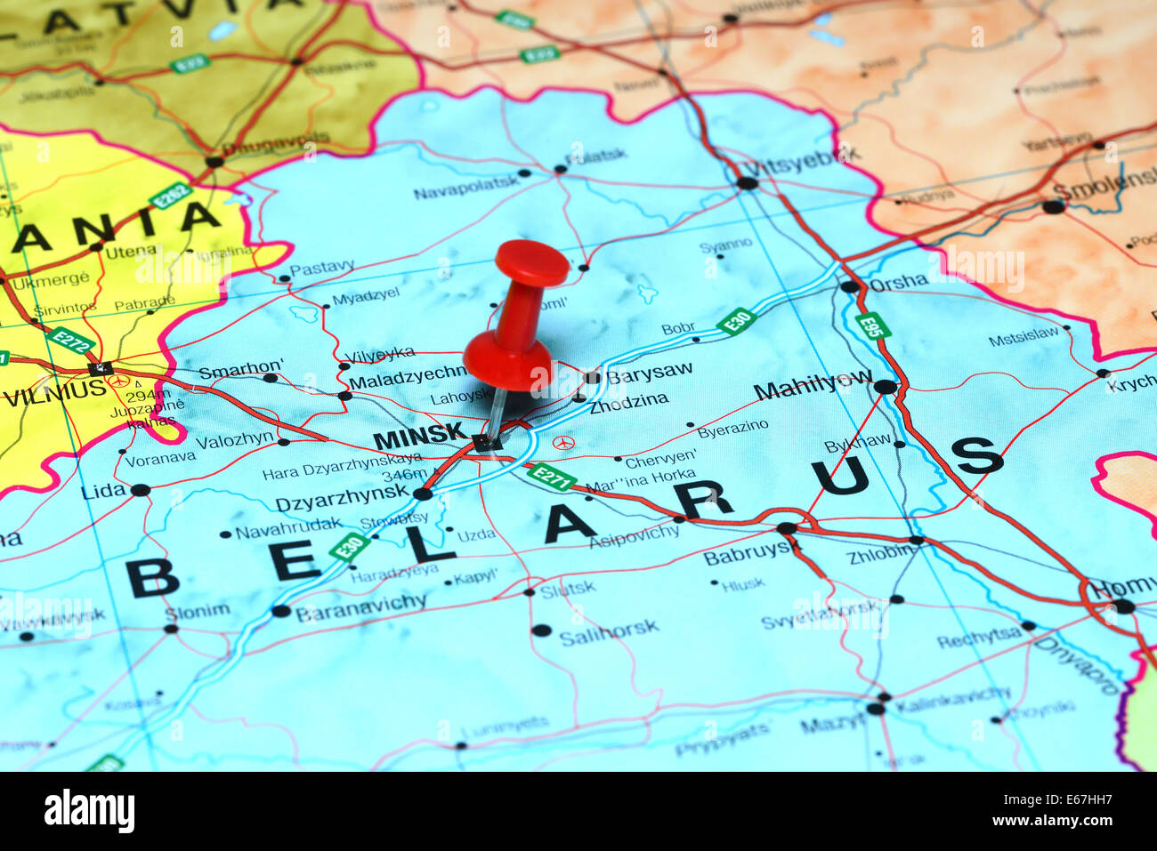 Minsk Pinned On A Map Of Europe Stock Photo Royalty Free Image - minsk map
