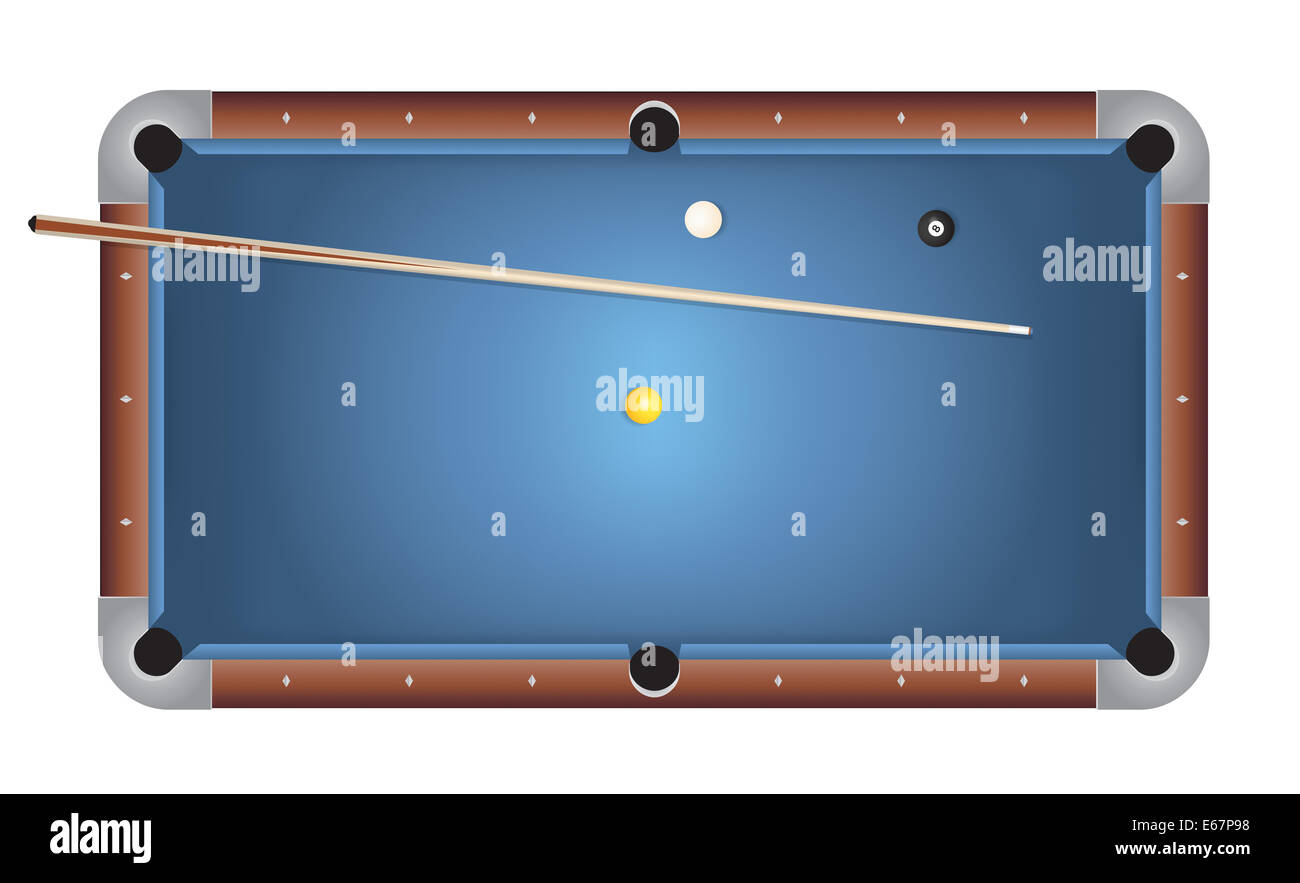 A Realistic Billiards Pool Table Illustration. Blue Felt Top With Wooden  Rails, Stick, And Balls.