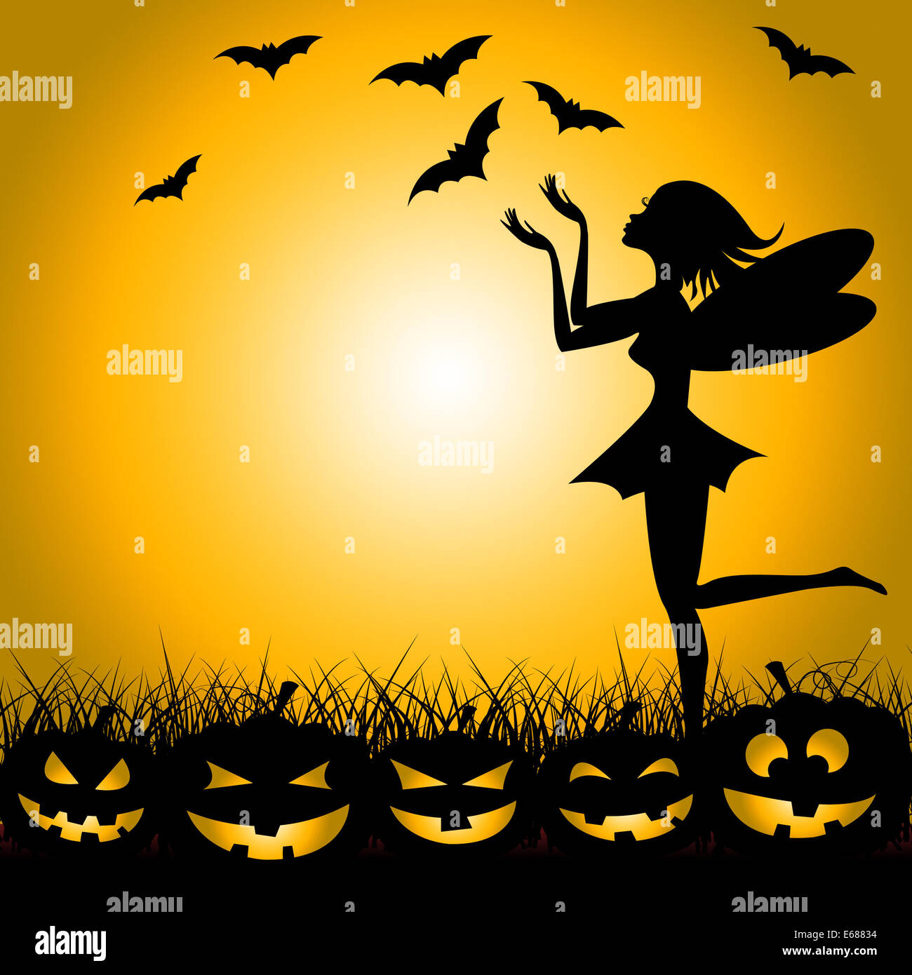 Halloween Pumpkin Meaning Trick Or Treat And Fairy Tale Stock ...