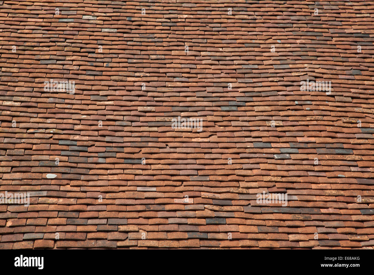 Ceramic Brown Roof Tiles On Historic Building Carisbrooke