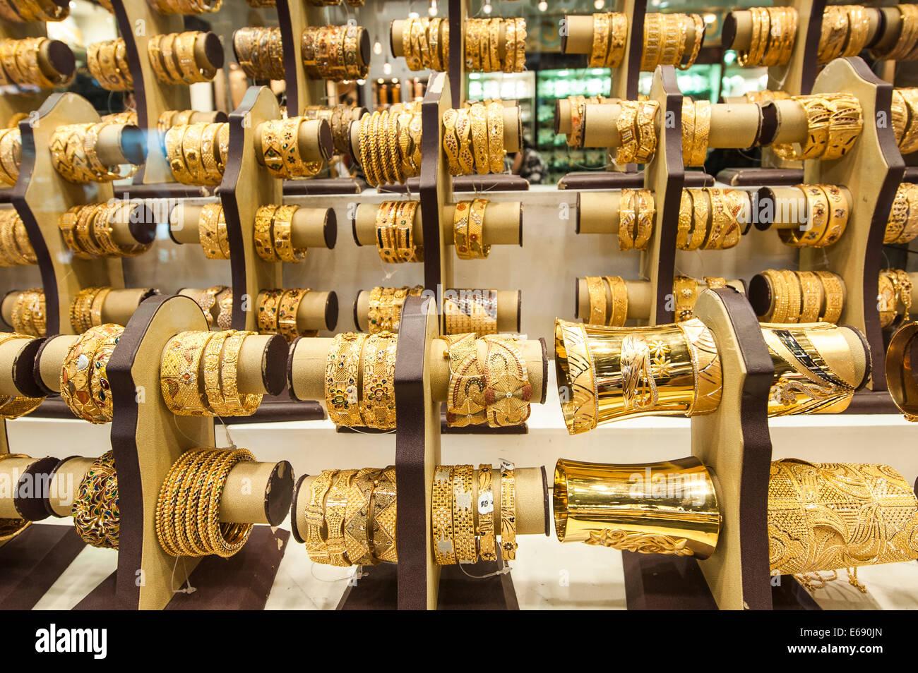 gold jewelry bracelets in the deira gold souk market dubai united stock photo royalty free. Black Bedroom Furniture Sets. Home Design Ideas