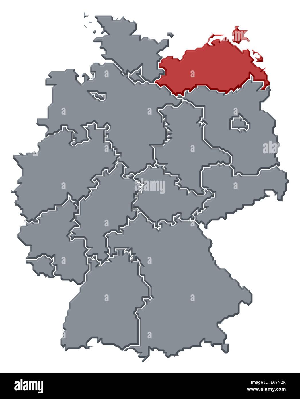germanymecklenburg vorpommerngermany map Stock Photo Royalty Free