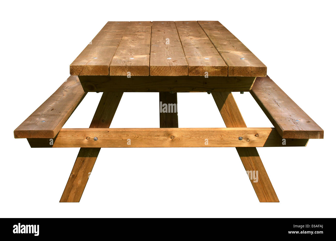 Picnic table front view made of weathered wood on an isolated picnic table front view made of weathered wood on an isolated white background as a symbol biocorpaavc