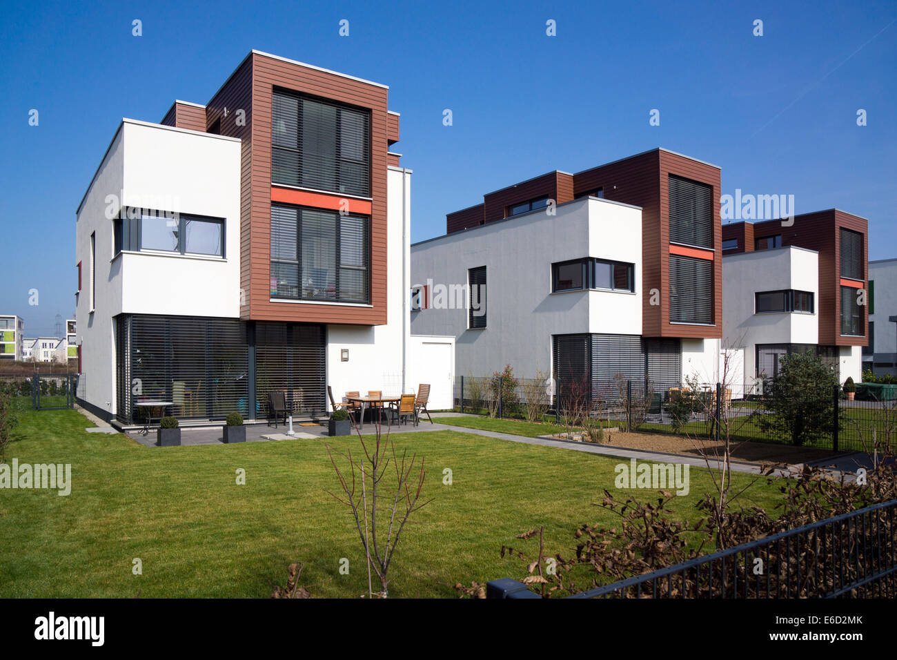 Family house, modern architecture in the Bauhaus style, Riedenberg,  Frankfurt am Main, Hesse, Germany