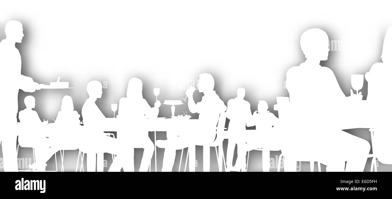 Restaurant Background With People editable vector cutout of people dining in a restaurant with stock