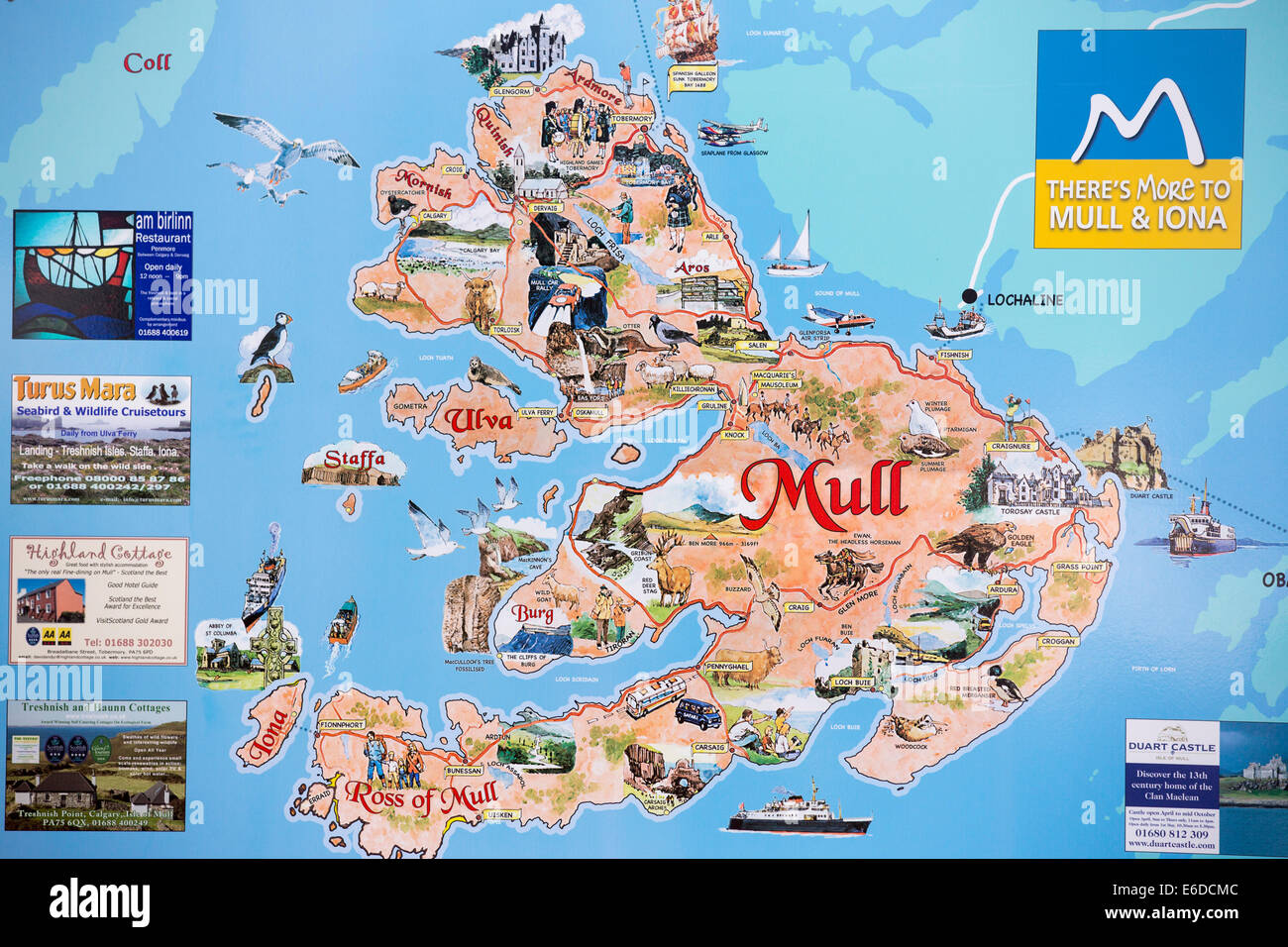 A map of the Isle of Mull Scotland UK Stock Photo Royalty Free