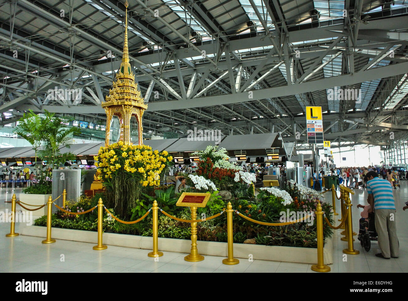 Thailand Bangkok Suvarnabhumi Airport Temple Stock Photos