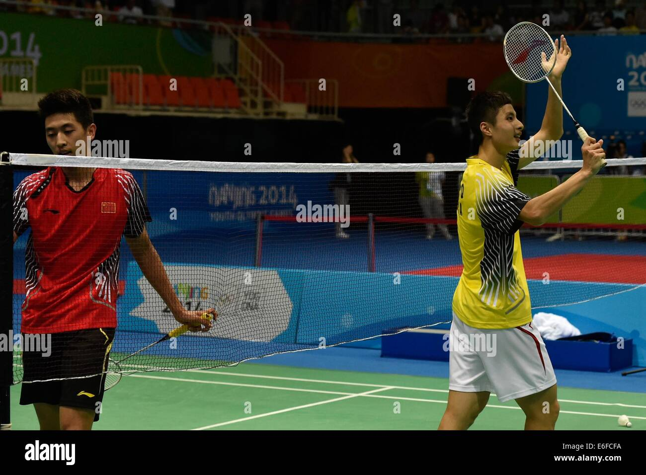 Nanjing China s Jiangsu Province 22nd Aug 2014 Shi Yuqi R of