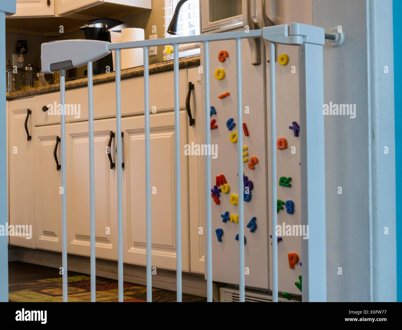 Baby Gate At Kitchen Doorway, USA