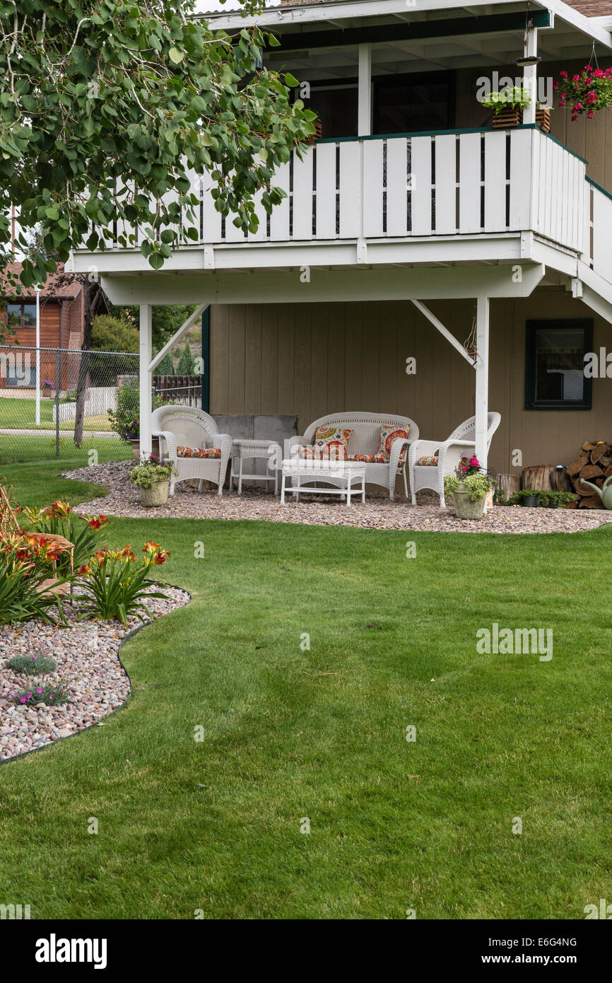 landscaped backyard and house with deck usa stock photo royalty