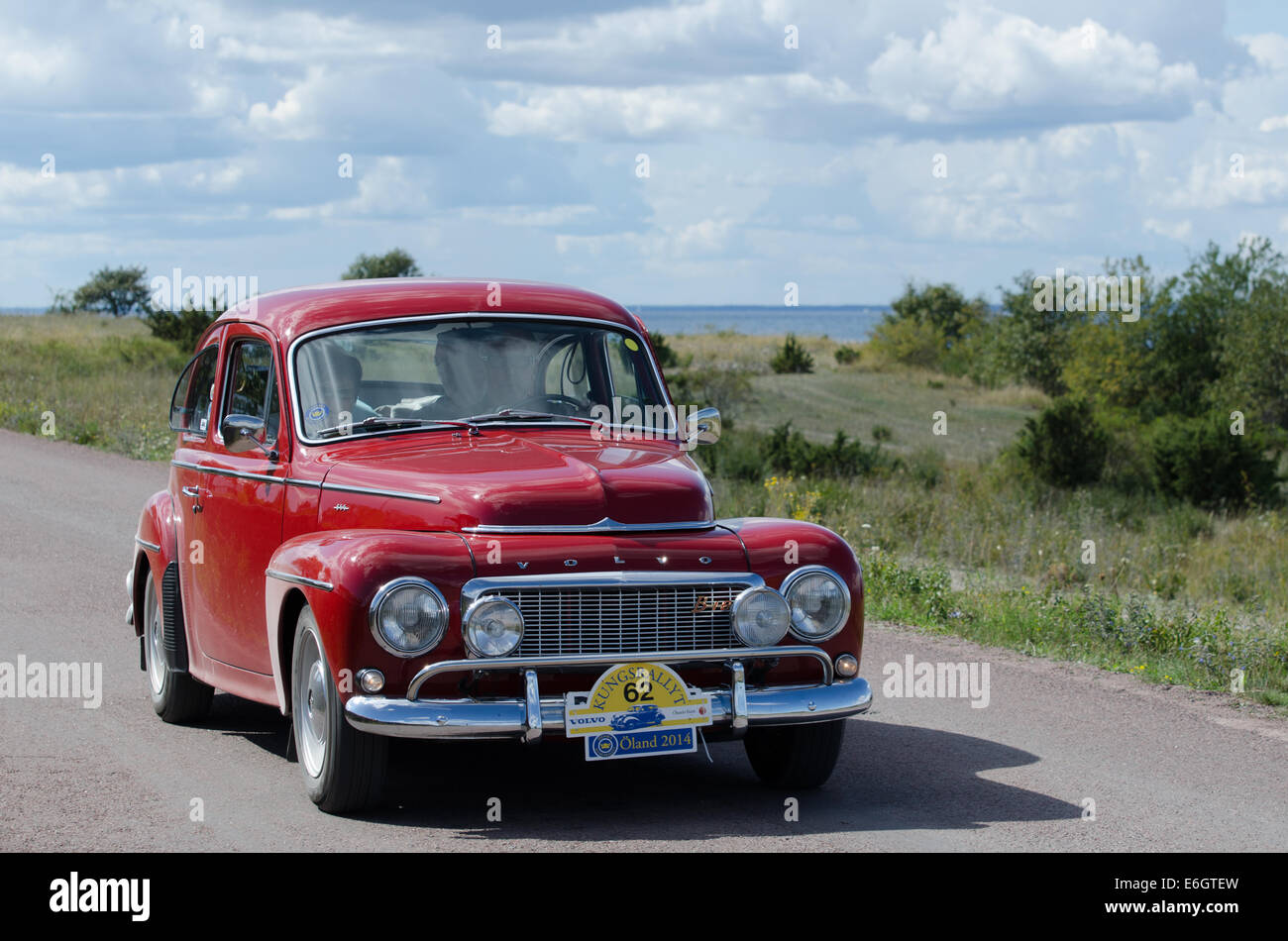 volvo pv 544 1963 oldtimer car in oldtimer rally in sweden stock photo royalty free image. Black Bedroom Furniture Sets. Home Design Ideas