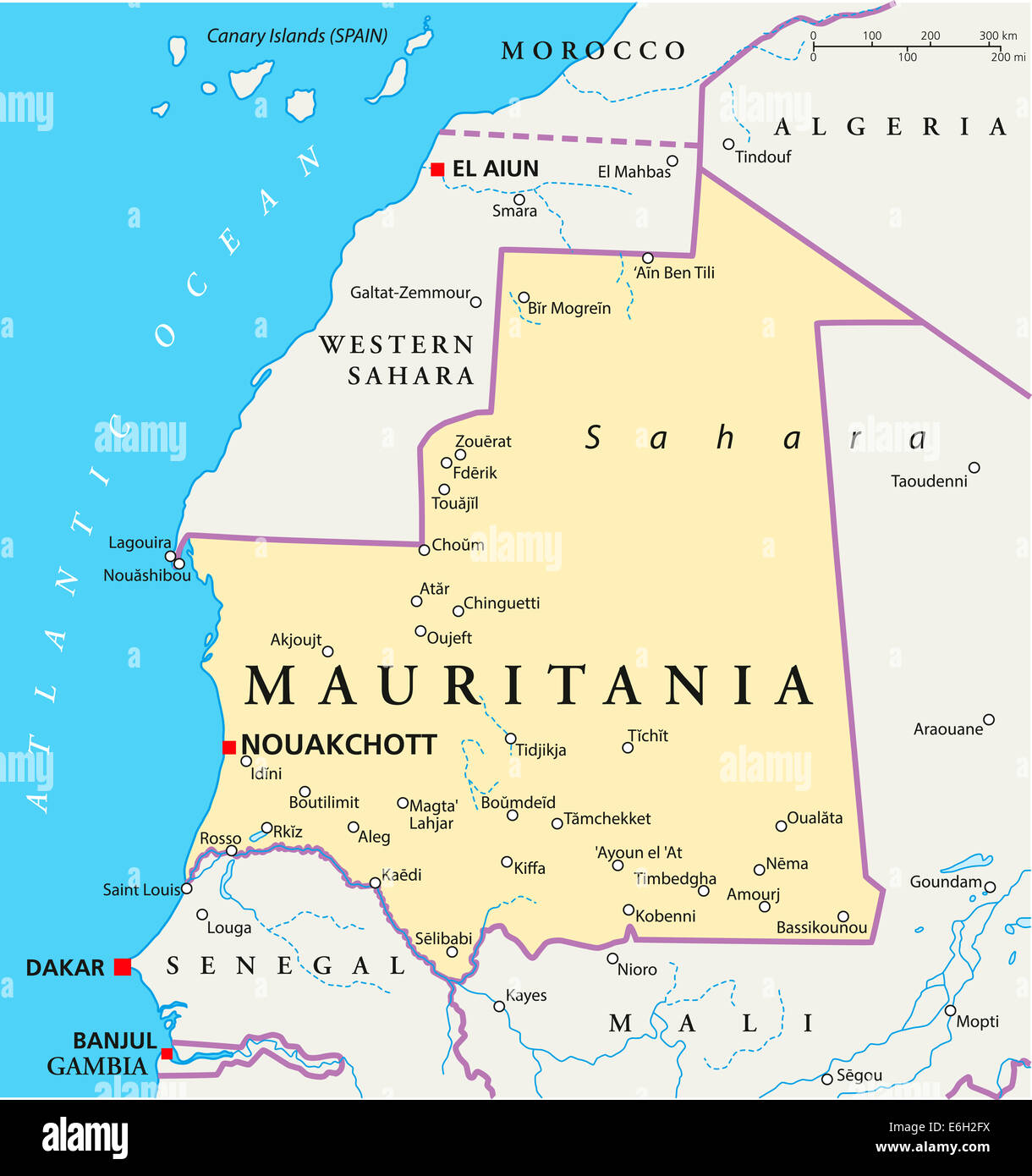 Mauritania Political Map With Capital Nouakchott, National Borders, Most  Important Cities, Rivers And