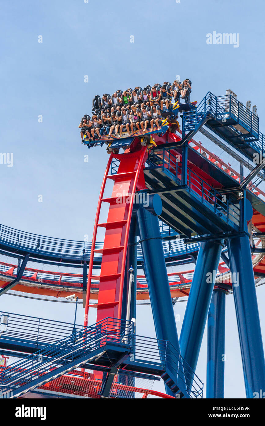 Park Guests Ride The Sheikra Roller Coaster At Busch Gardens Theme Stock Photo 72909923 Alamy