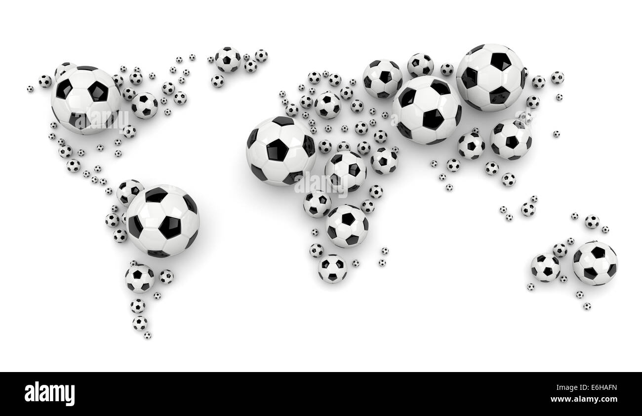 Black and white soccer balls arranged as a world map on white stock black and white soccer balls arranged as a world map on white background 3d illustration gumiabroncs Images