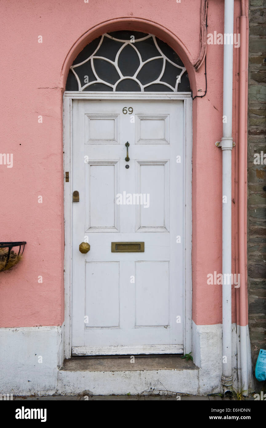 White number 69 wooden front door of period terraced house for White wooden front doors