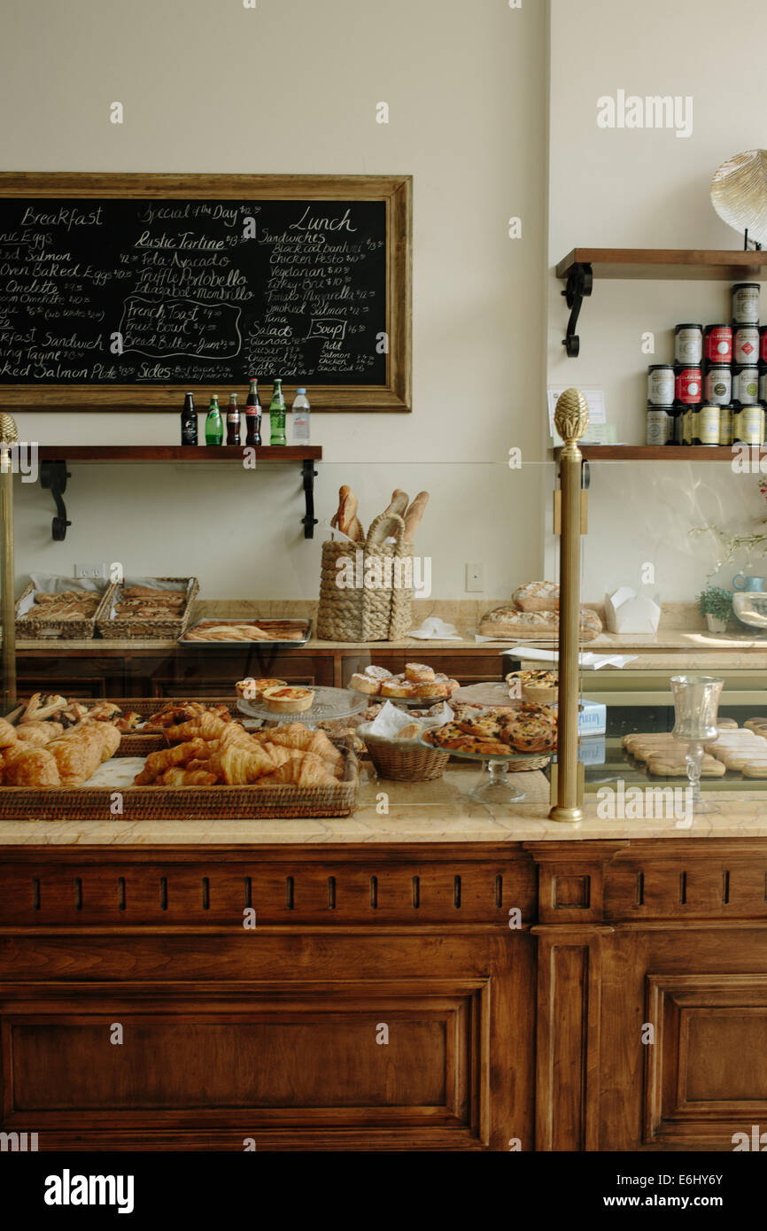 marble counter at french bakery with fresh bread, handwritten