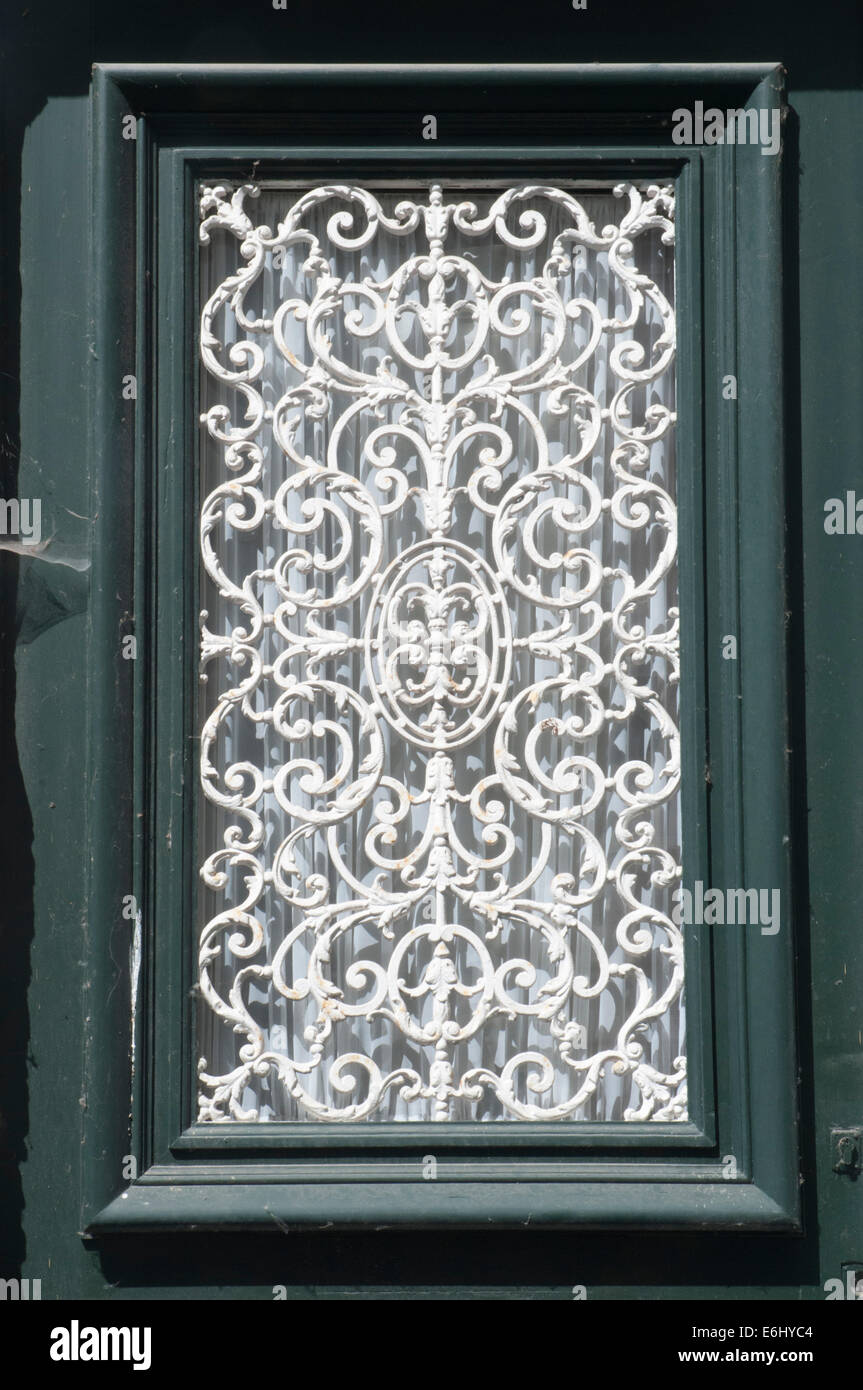 Decorative wrought iron window grill in bruges belgium