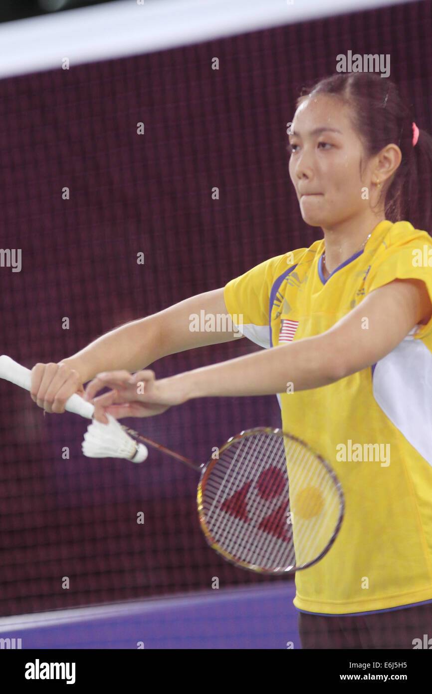 Lai Pei Jing of Malaysia v India in the semi finals of the womens