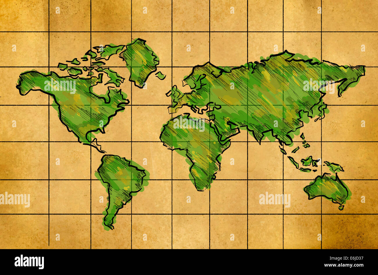 World map sketch green watercolor on old paper grid stock photo world map sketch green watercolor on old paper grid gumiabroncs Image collections