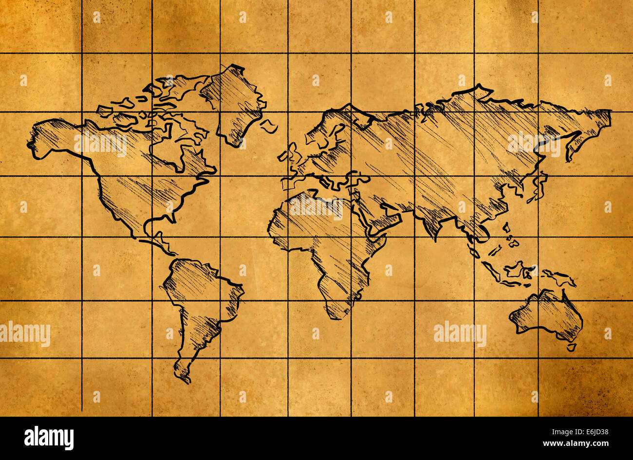 World map sketch on old paper grid art drawing stock photo world map sketch on old paper grid art drawing gumiabroncs Gallery