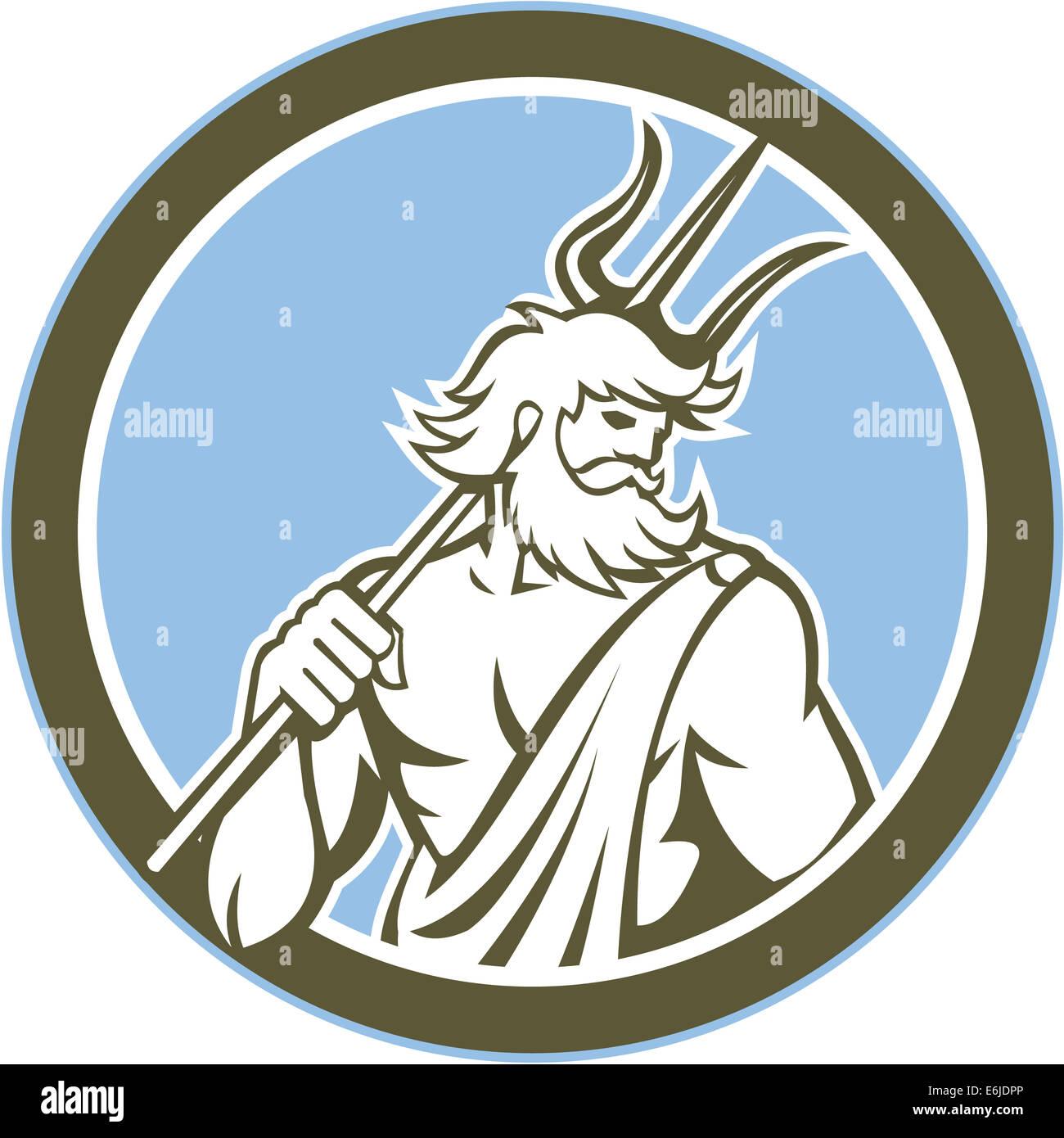 illustration of roman god of sea neptune poseidon of greek