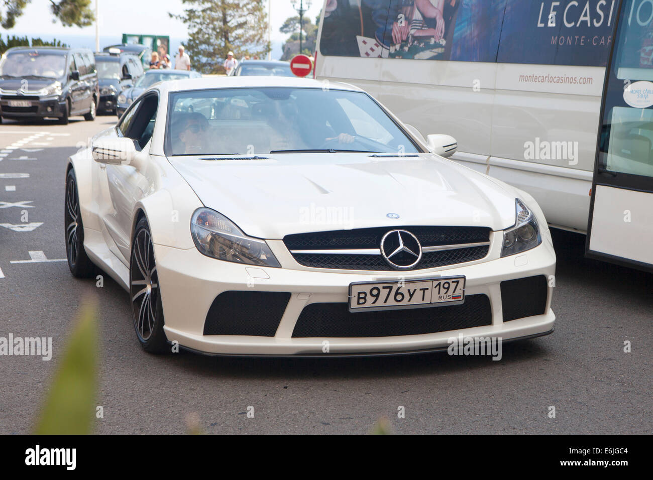 white mercedes sl65 amg black series v12 biturbo in monte carlo an stock photo royalty free. Black Bedroom Furniture Sets. Home Design Ideas