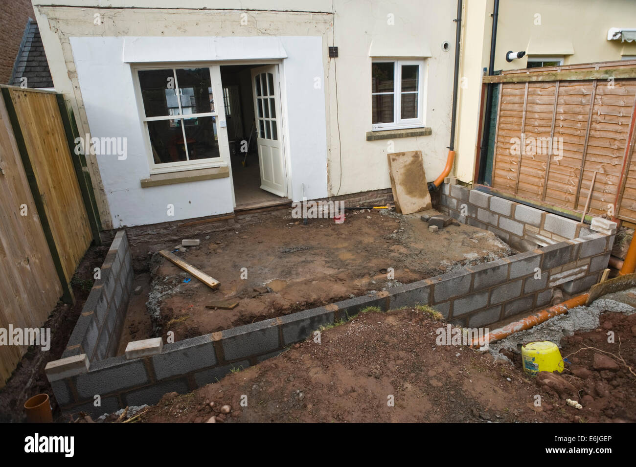Foundation Block Walls Laid For New House Extension Hay On