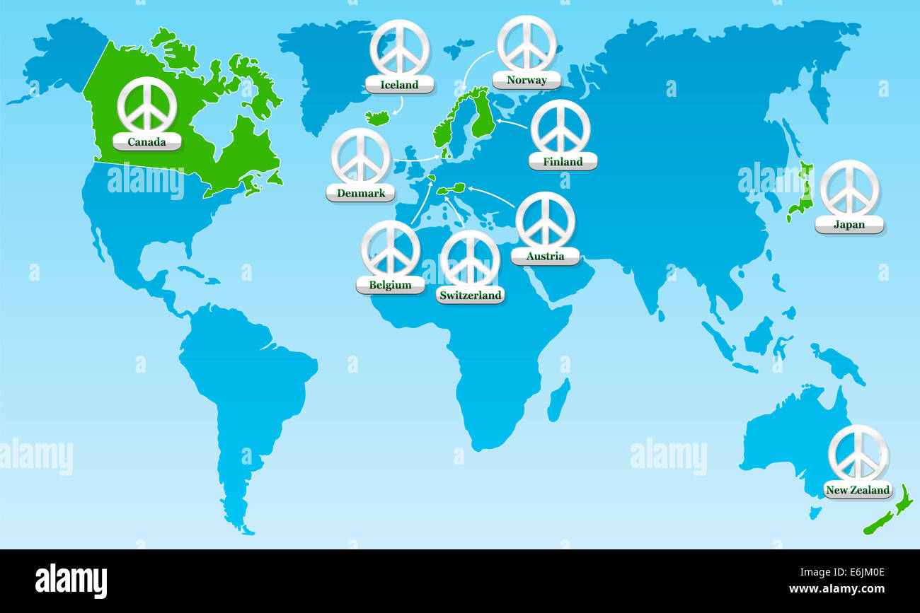 Global peace world map showing the ten most peaceful countries global peace world map showing the ten most peaceful countries worldwide since many years tagged with ten peace symbol medals gumiabroncs Images