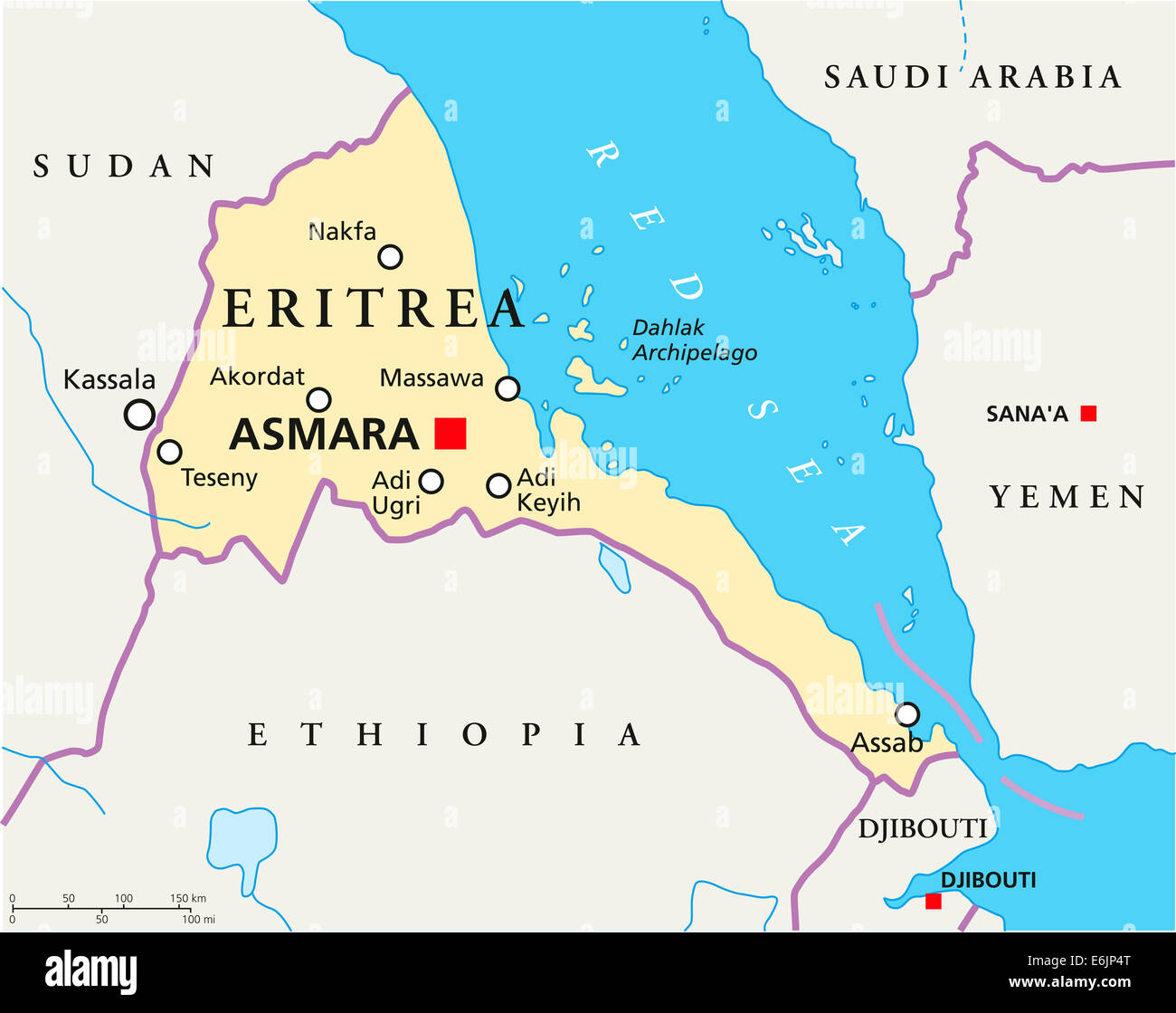 Eritrea political map with capital asmara national borders most eritrea political map with capital asmara national borders most important cities rivers and lakes english labeling gumiabroncs Gallery