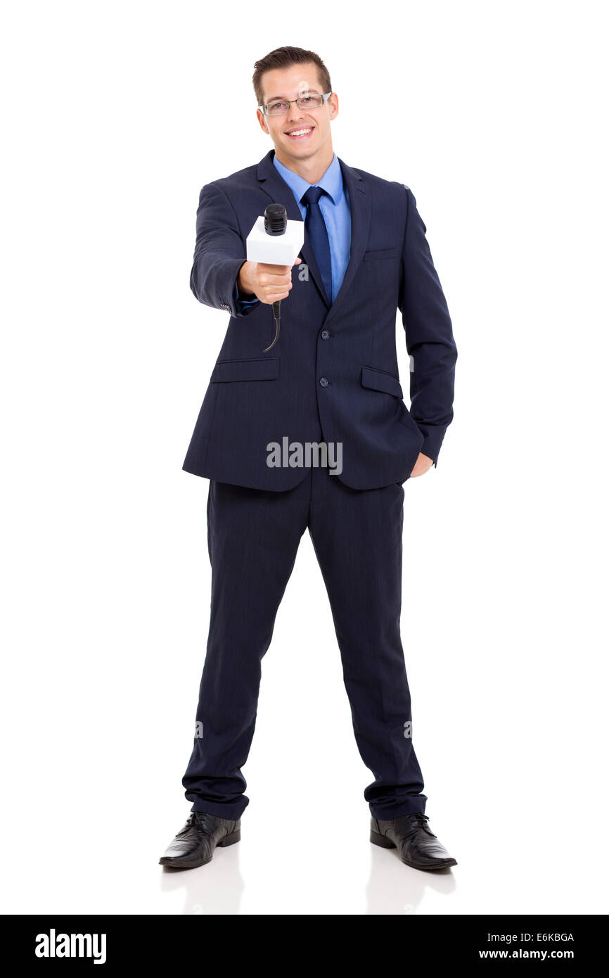 journalist interviewing cut out stock images pictures alamy full length portrait of news reporter interviewing microphone stock image