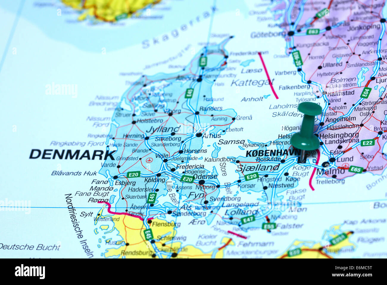 Copenhagen pinned on a map of europe Stock Photo Royalty Free Image