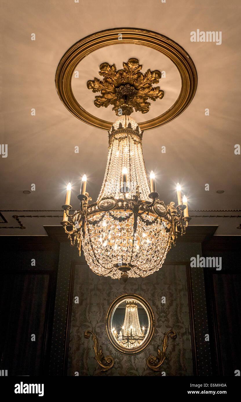 Circa 1920s chandelier replica hanging in a public room of the circa 1920s chandelier replica hanging in a public room of the saskatchewan radisson plaza hotel in saskatchewan regina canada arubaitofo Gallery
