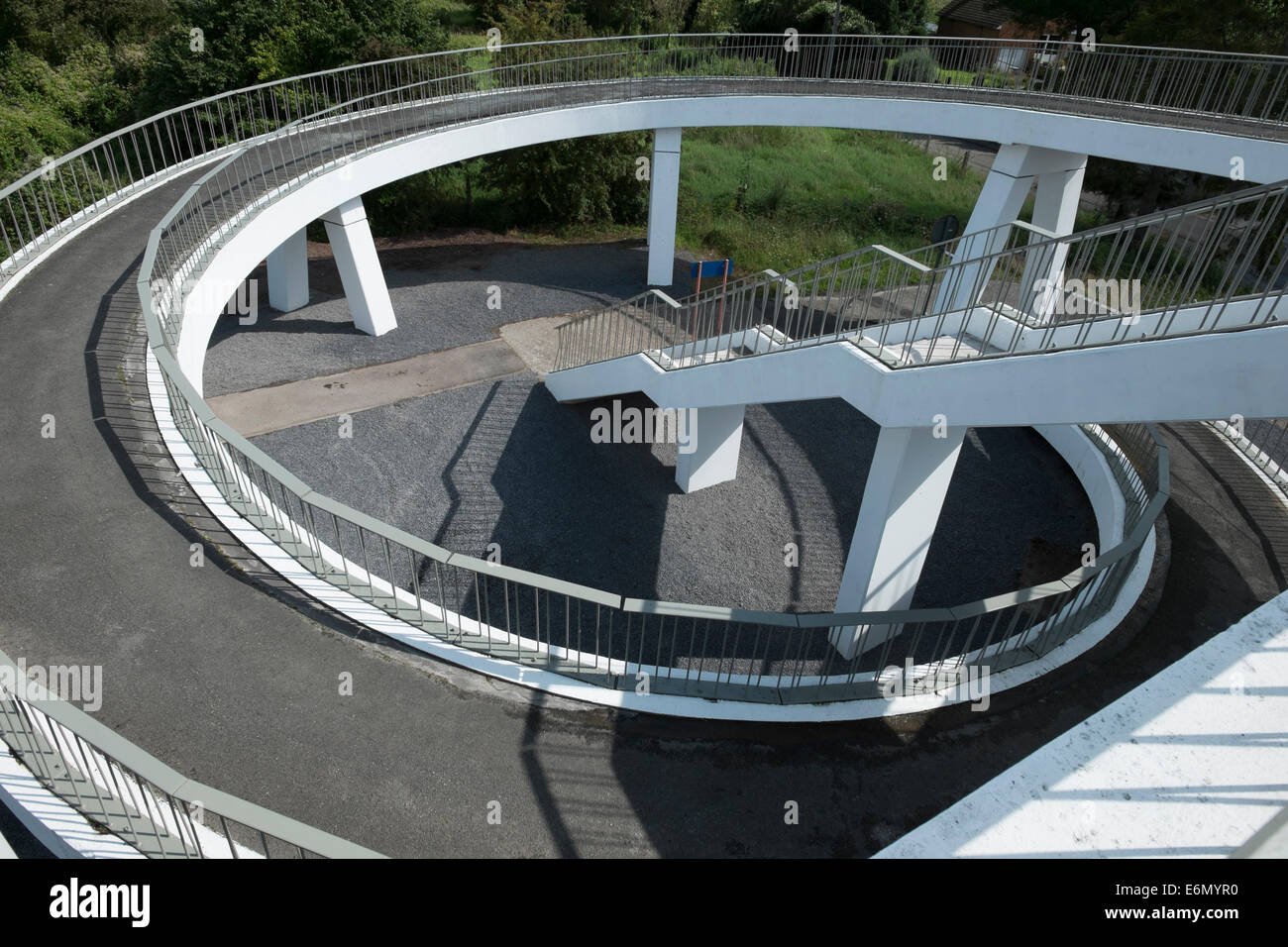 Pedestrian Walkway That Offers Either Stairs Or Ramp To Access Footbridge  At Obourg Station In Belgium