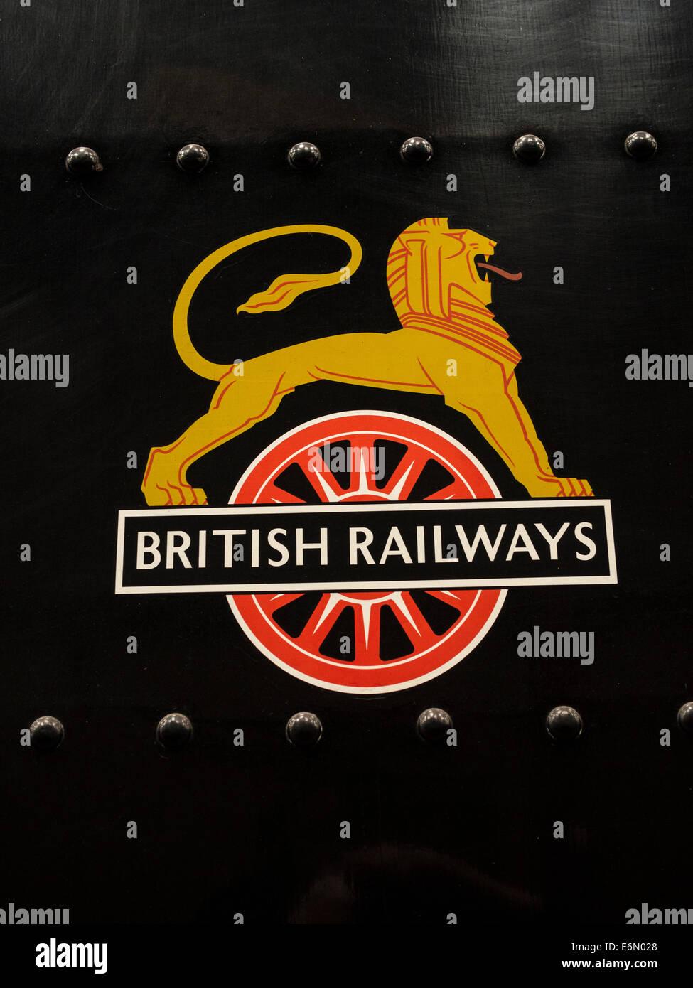 British rail logo on a vintage steam engine at the lakeside and british rail logo on a vintage steam engine at the lakeside and haverthwaite railwayin the lake districtenglanduk biocorpaavc Images