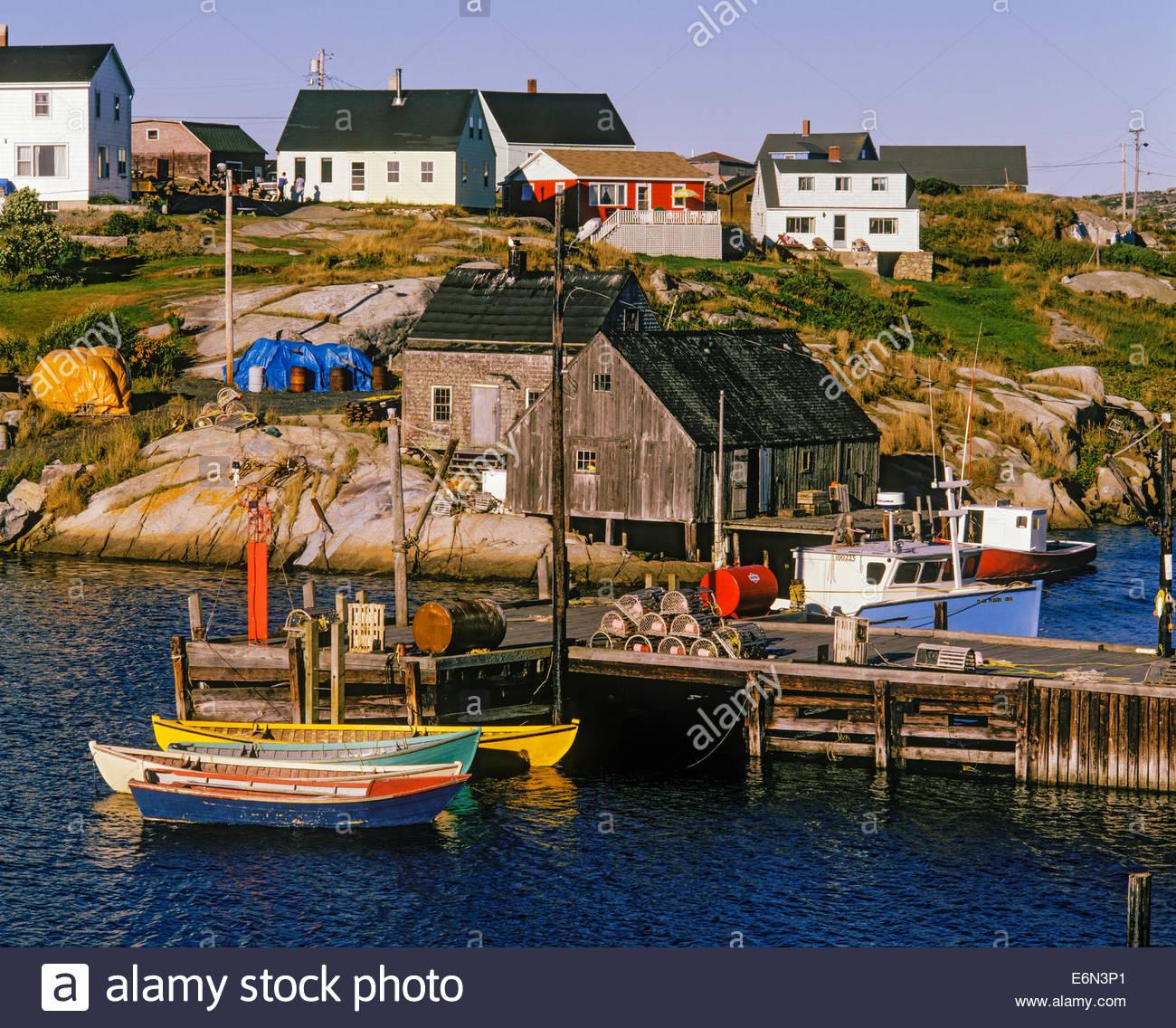 Fishing Village Of Peggys Cove In Nova Scotia Canada Stock