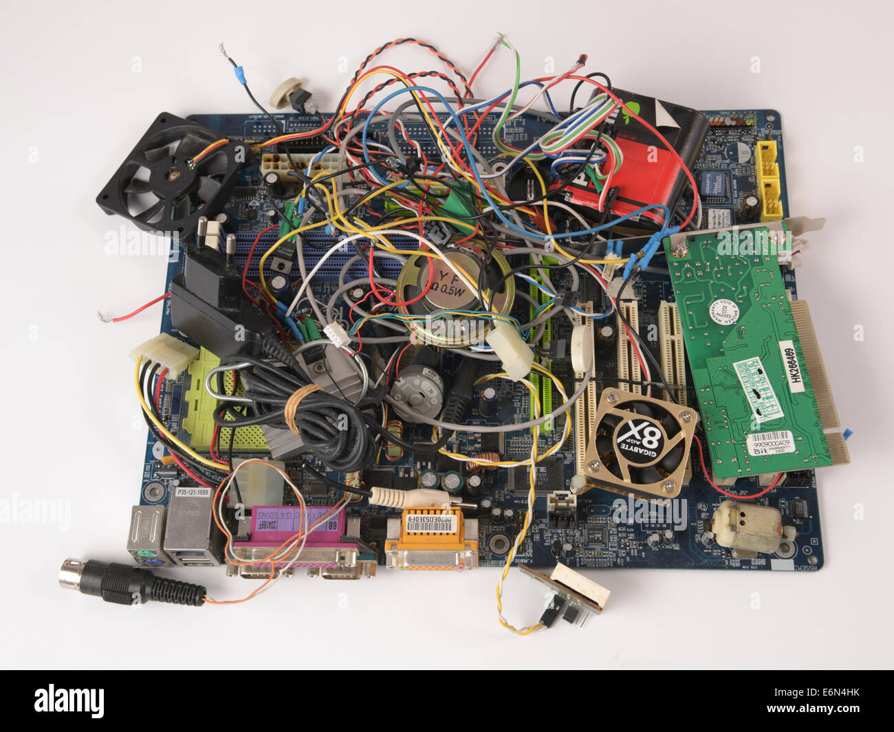 Pile Of Electronic Waste Computer Motherboard Wires