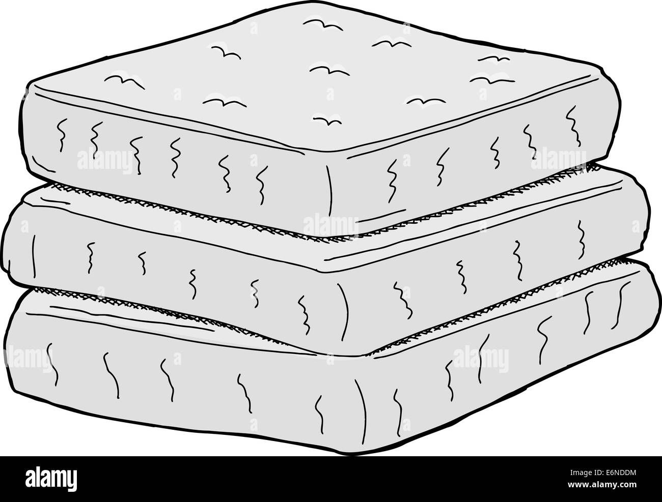 pile of mattresses. Isolated Stack Of Cartoon Mattresses On White Background Pile