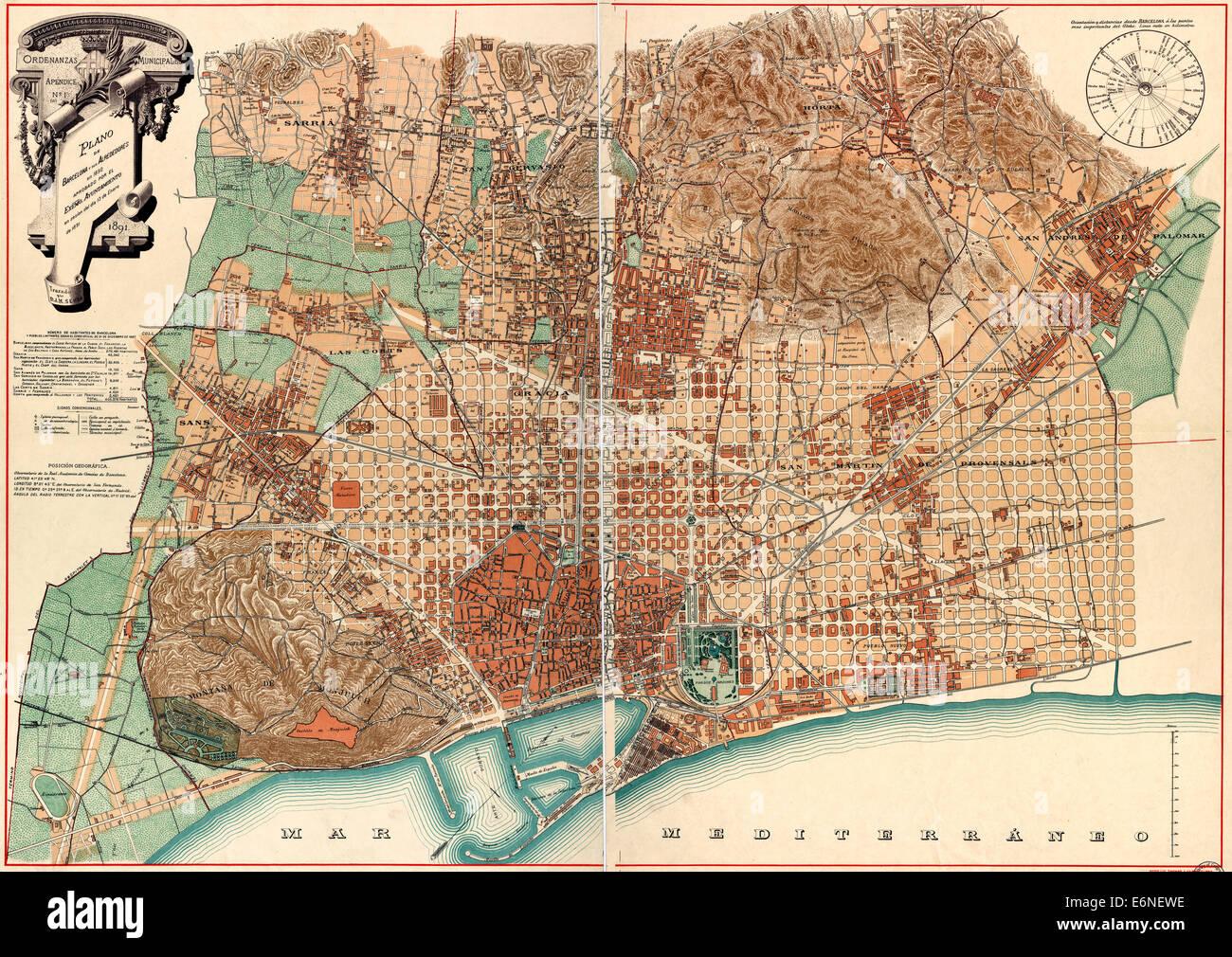 Map of barcelona spain circa 1890 stock photo royalty - Mobles vintage barcelona ...