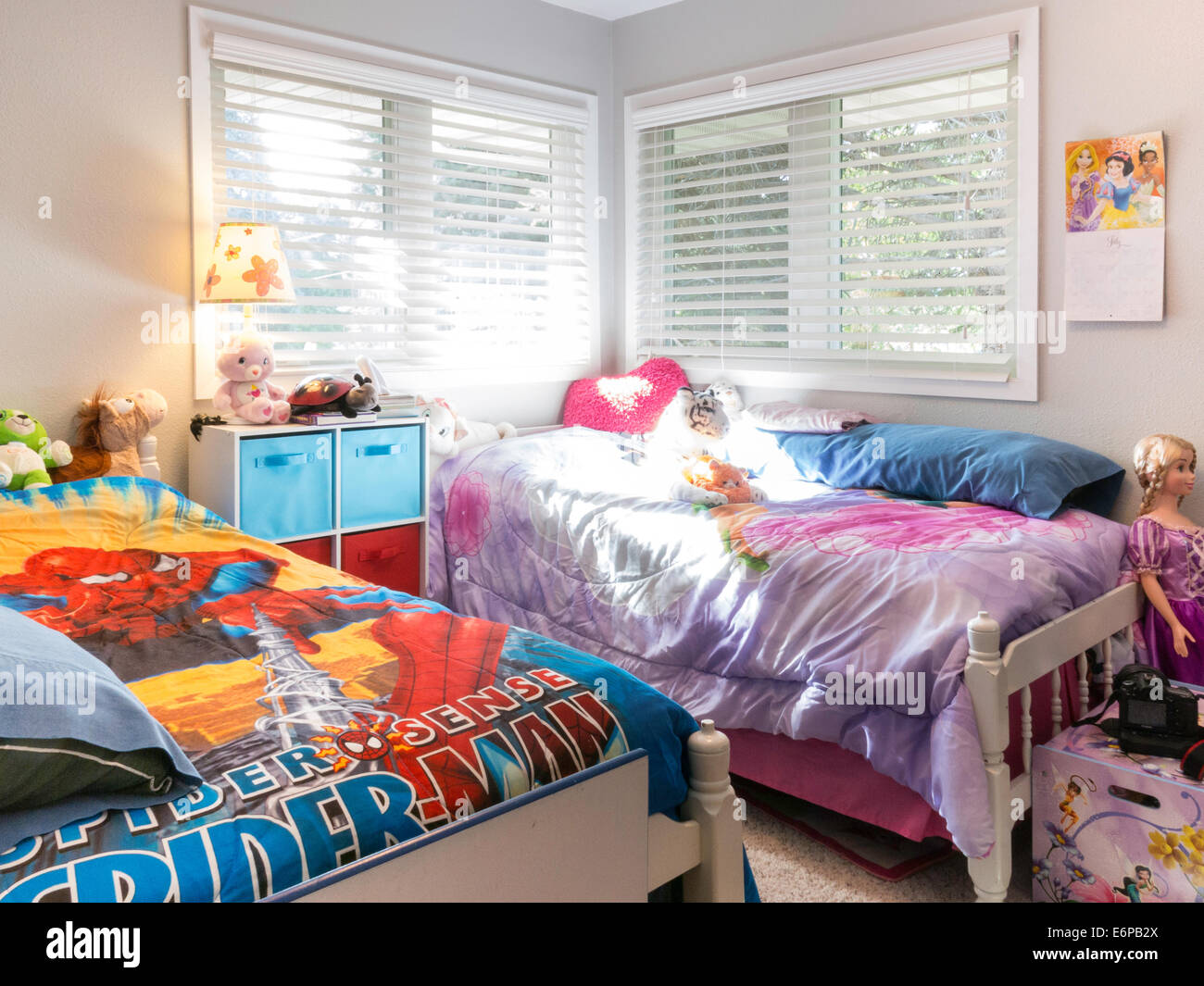 Brother and sister bedroom usa stock photo royalty free for Sibling bedroom ideas
