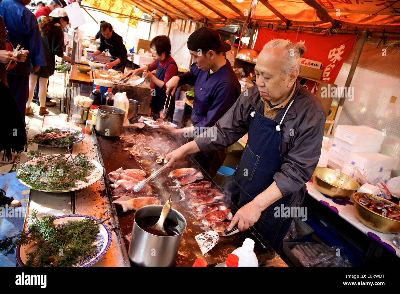 Stall shop with cook chef cooking food seafood for Cherry street fish market