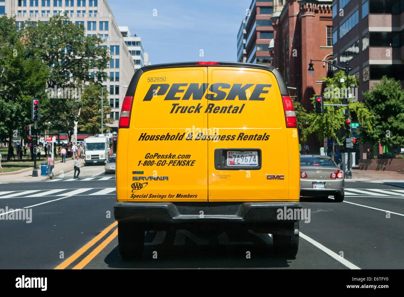 Penske truck rental van from behind washington dc usa