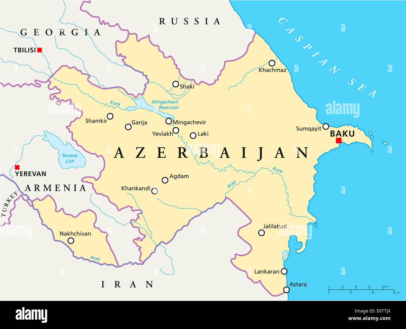 Azerbaijan Political Map With Capital Baku National Borders Most - Azerbaijan map
