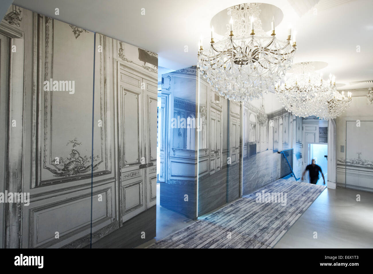 hallway with chandelier at hotel la maison champs elysees designed stock photo royalty free. Black Bedroom Furniture Sets. Home Design Ideas