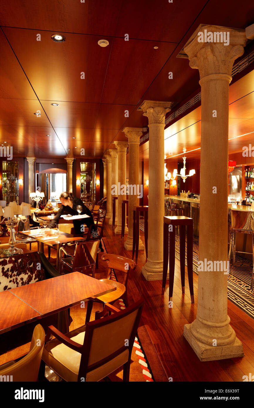 restaurant in palazzina grassi hotel design philippe starck stock photo royalty free image. Black Bedroom Furniture Sets. Home Design Ideas