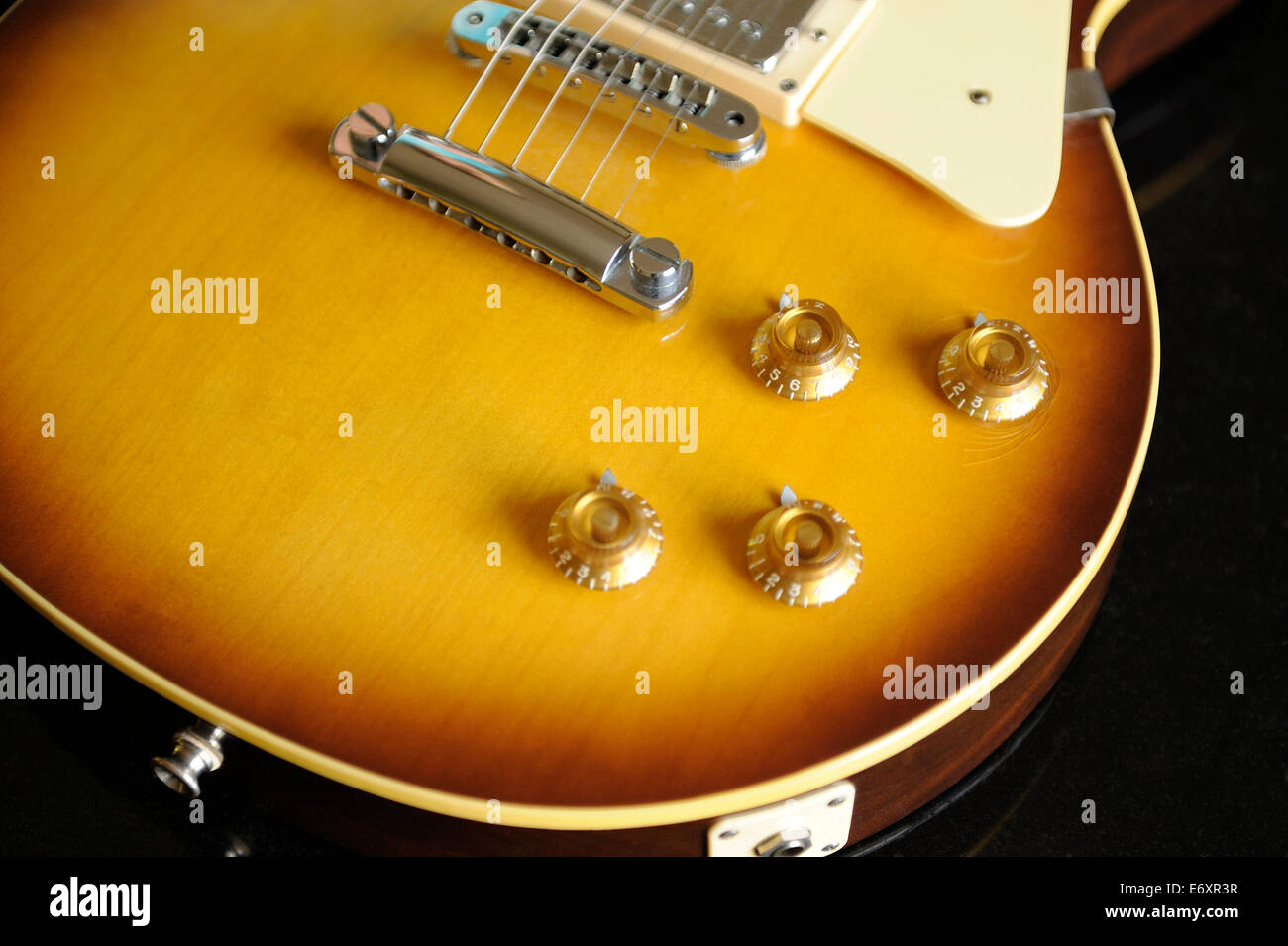 Electric guitar pickup, volume and tone controls Stock Photo ...