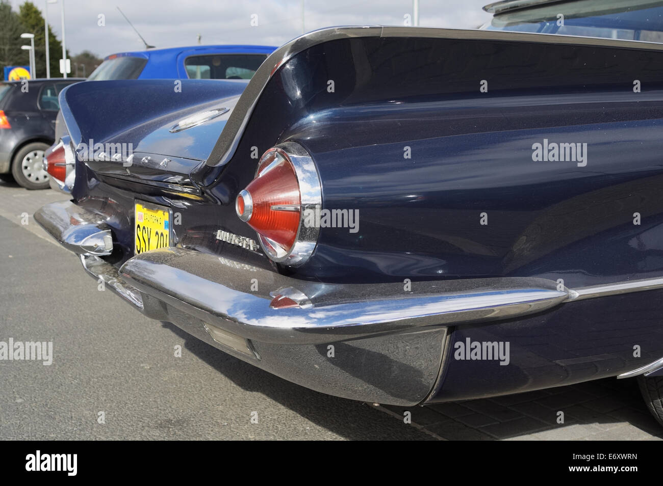 Rear view with tail fins of a late 50s early 60s buick invicta stock image